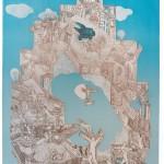 Ewa Kuryluk, Świadkowie zniszczenia wieży, 1968, litografia, 62 x 43,5 cm