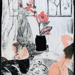 Ewa Kuryluk, Nasz pokój z czerwonym kwiatem, 1967, litografia, 65,5 x 49,5 cm