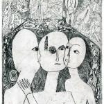 Ewa Kuryluk, Trzy razy ja, 1967, akwaforta, 23,5 x 14 cm