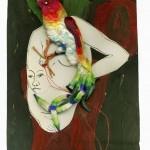 Ewa Kuryluk, Zagłaszcz mnie, 1967, lewe skrzydło dyptyku, kolaż z obrazu olejnego na tekturze, litografii, chińskiego ptaka i czerwonej nici, 25 x 20 cm