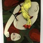 Ewa Kuryluk, Zagłaszcz mnie, 1967, prawe skrzydło dyptyku, kolaż z obrazu olejnego na tekturze, litografii, chińskiego ptaka i czerwonej nici, 25 x 20 cm